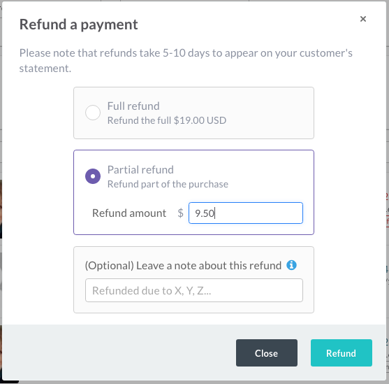 Partial Refund - Thrivecart